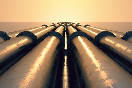 Tubes running in the direction of the setting sun. Pipeline transportation is most common way of transporting goods such as Oil, natural gas or water on long distances.  Standard-Bild