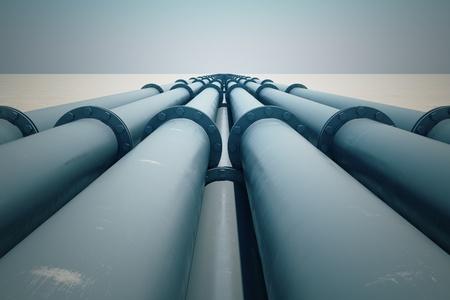 パイプライン輸送はオイル、天燃ガスまたは長い距離に水などの物資の輸送の最も一般的な方法です。 写真素材