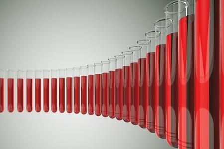 laboratorio clinico: Tubos de ensayo de vidrio con líquido rojo sobre un fondo blanco. Los tubos de ensayo se utilizan los químicos para contener, mezclar o calentar sustancias químicas diferentes. Perfecto para médicos, químicos y de investigación temáticos fondos.