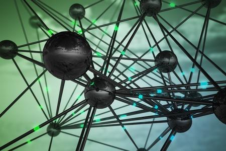 Abstrakte Darstellung der Verbindungen, Datenübertragung und Vernetzung. Standard-Bild - 20039115