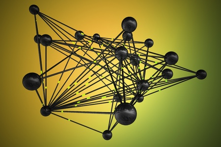 human being: Abstract representation of connections, data transfer and networking. Information is sent through the network that connects spheres that can represent human being, network servers, computers or any other communication medium.
