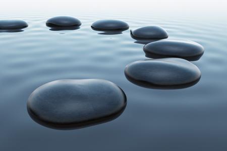 Zeven steentjes lichtjes ondergedompeld in water. Wrinked oppervlakte van het meer. Geschikt voor harmonie, spitituality of meditatie illustratie.