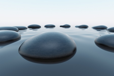 immersed: Circle od twelve pebbles slightly immersed in water. Wrinked surface of the lake. Suitable for harmony, spitituality or meditation illustration.