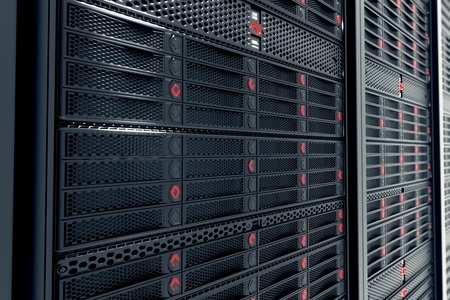 데이터 서버에 근접 촬영 작업하는 동안. 빨간 불빛이 깜박이는 LED. 이미지 등 클라우드 컴퓨팅, 정보 저장을 나타낼 수 있습니다 또는 완벽한 기술 배