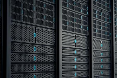 Close-up op data servers tijdens het werken. Blauwe LED-lampjes knipperen. Afbeelding kan cloud computing, opslag, enz. vertegenwoordigen of kan de perfecte technische achtergrond zijn.