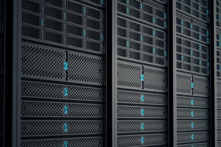 Closeup on data servers while working. Blue LED lights are flashing. Image can represent cloud computing, information storage, etc. or can be the perfect technology background.  Standard-Bild
