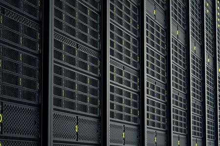 Obraz z serwerów danych podczas pracy. Żółte diody LED migają. Obraz może stanowić cloud computing, przechowywania informacji, itp lub może być idealne tło technologii.