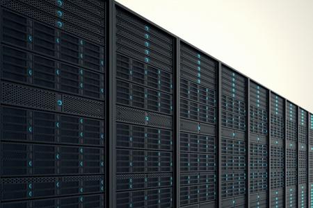 Nahaufnahme auf Datenserver während der Arbeit Blaue LED-Leuchten blinken Bild darstellen kann Cloud Computing, Informationsspeicherung, etc oder kann die perfekte Technologie Hintergrund sein Standard-Bild - 20039165