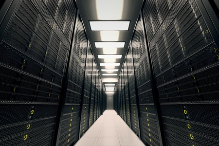 Image presents a room equipped with data servers  Yellow LED lights are flashing  Image can represent cloud computing, information storage, etc  or can be the perfect technology background