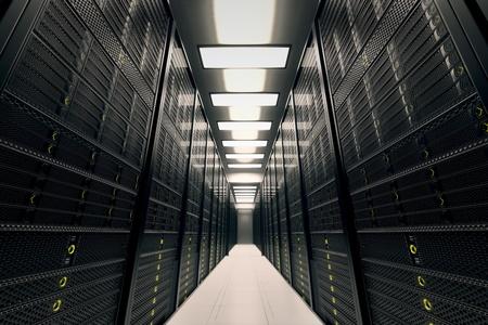 Image představuje místnost s datovými servery žlutá LED blikají obrázek může představovat cloud computing, ukládání informací, atd, nebo mohou být dokonalé technologie na pozadí