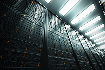 Image presents a bottom view of a room equipped with data servers  Yellow LED lights are flashing  Image can represent cloud computing, information storage, etc  or can be the perfect technology background