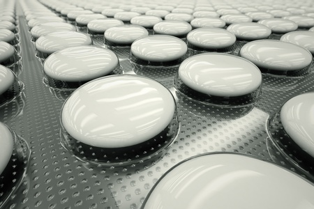 Closeup shot of white, unnamed tablets in a blister packaging  Perfect for any medicine or pharmaceutical related purposes  photo