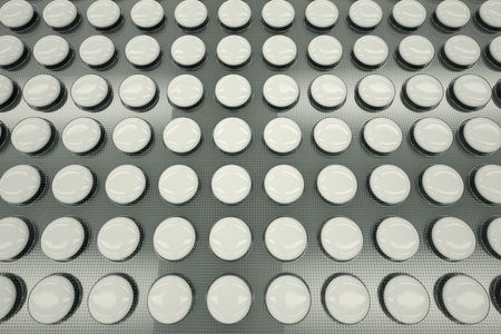 Top shot of white, unnamed tablets in a blister packaging  Perfect for any medicine or pharmaceutical related purposes  photo