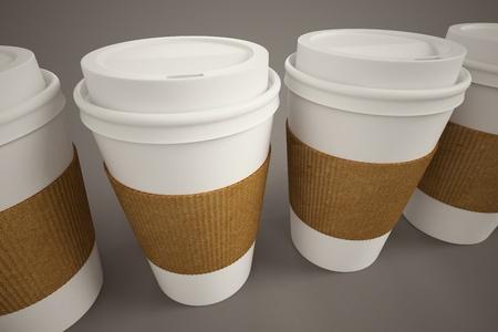 White paper take-away coffee cups mit braunen Streifen holding auf einem braunen Hintergrund Geeignet für Cafeterias, was Frühstück, morgens und frisch zubereiteten Kaffee Standard-Bild - 20039137