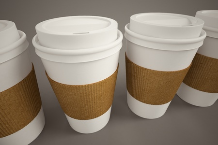 White paper take-away coffee cups with brown holding stripe on a brown background  Suitable for cafeterias, representing breakfast, morning and freshly made coffee Imagens - 20039137