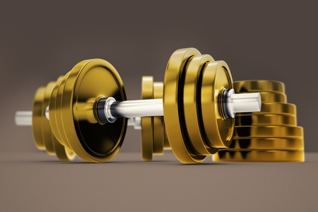 fat burning: Golden dumbbels with adjustable weights on a dark backround. Perfect for any fitness, training or bodybuilding related purposes.