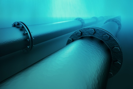 gas pipe: Pipeline beneath the ocean.  Pipeline transportation is most common way of transporting goods such as oil, natural gas or water on long distances.