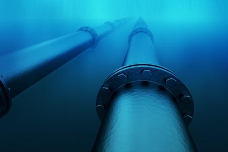 Pipeline dans les eaux bleues de la mer. Le transport par pipeline est le moyen le plus commun de transport de marchandises telles que le p�trole, le gaz naturel ou de l'eau sur de longues distances. Banque d'images