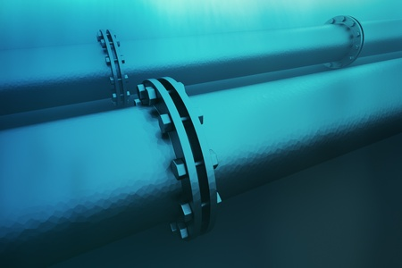 Closeup on details of an underwater pipeline. Pipeline transportation is most common way of transporting goods such as oil, natural gas or water on long distances. photo