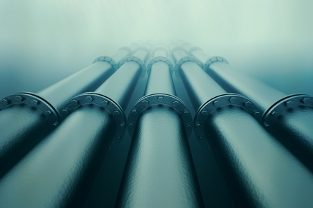 Pipelines disappear in the depths of the ocean.  Pipeline transportation is most common way of transporting goods such as oil, natural gas or water on long distances.