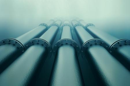 Rurociągi znikają w głębi oceanu. Transport rurociągowy jest najczęstszym sposobem przewozu towarów, takich jak ropa naftowa, gaz ziemny lub wody na duże odległości.