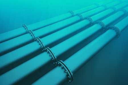 loopable: Top shot of an underwater pipeline. Pipeline transportation is most common way of transporting goods such as oil, natural gas or water on long distances.