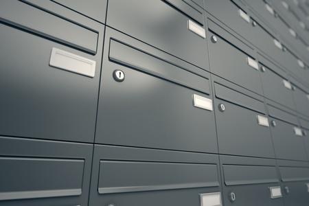 Ściana szarych skrzynek pocztowych. To może zilustrować wiadomość, prywatności lub bezpieczeństwa. Przydatne do polowa, przesyłki lub do celów korespondencyjnych realted.
