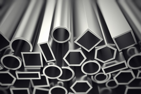 Aluminium profiles in different shapes are designed to meet high demands for performance, quality and precision. They are used in construction and manufacturing.  Stock Photo - 20038717