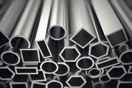 Profile aluminiowe w różnych kształtach są zaprojektowane, aby spełnić wysokie wymagania dotyczące wydajności, jakości i precyzji. Są one stosowane w budownictwie i produkcji. Zdjęcie Seryjne