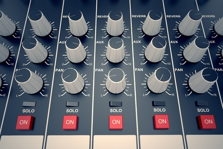 Top view od adjusters and red buttons of a mixing console. It is used for audio signals modifications to achieve the desired output. Applied in recording studios, broadcasting, television and film post-production. Stock Photo - 20039157