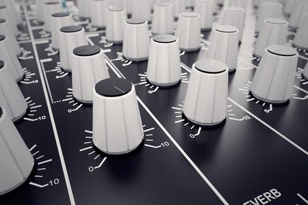 Close-up op wit-experts van een mengpaneel. Het wordt gebruikt voor audiosignalen wijzigingen van de gewenste uitvoer te bereiken. Toegepast in opnamestudio's, omroepen, televisie en film postproductie.