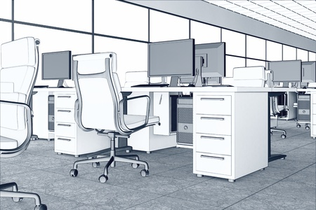 Linear image of an office space  Illustrates arrangement and furnishing of a modern office interior, comfortable business space and professionalism