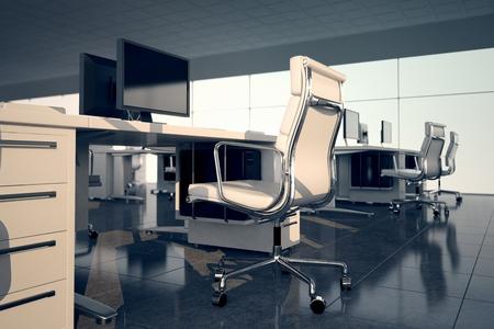 Zijaanzicht van een kantoor set Witte fauteuil en een bureau met een monitor op de top Op de achtergrond twee andere kantoor sets en glazen vliesgevel Stockfoto