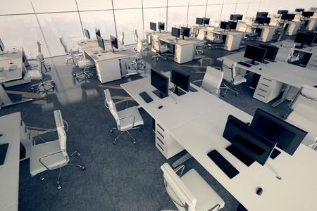 A l'int�rieur d'un immeuble de bureaux Vue de dessus sur un espace de travail Illustre arrangement et de l'ameublement d'un int�rieur moderne de bureau, l'espace d'affaires confortable et professionnalisme