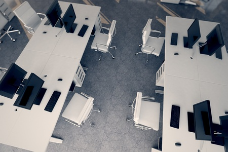 Top shot of an office workspace arrangement - white desks and armchairs   Illustrates arrangement and furnishing of a modern office interior, comfortable business space and professionalism
