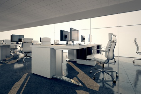 com: Side view of an office space  White desks arrangement on a glass courtain wall background  Illustrates arrangement and furnishing of a modern office interior, comfortable business space and professionalism