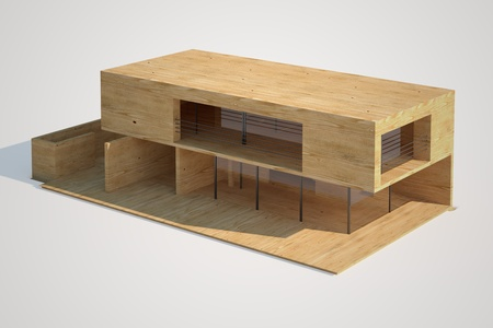 roof beam: Top view of an architectural mock-up of a modern house made of wood  Stock Photo