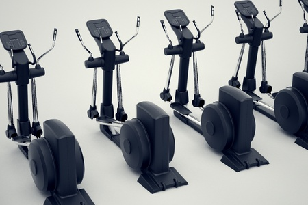 Top shot of an array of isolated crosstrainers on a white background  Perfect for any fitness, training or athletic related purposes  Archivio Fotografico