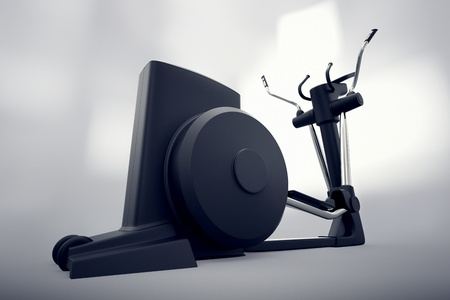 fitness equipment: Singular isolated crosstrainer on a gray backround   Perfect for any fitness, training or athletic related purposes  Stock Photo