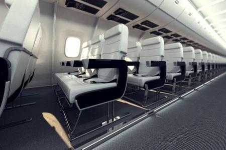 Beeld geeft door een rij van witte comfortabele passagier zitplaatsen in het vliegtuig Stockfoto