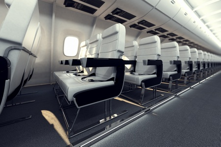 first class: Image presents a row of white comfortable passanger seats inside the aircraft