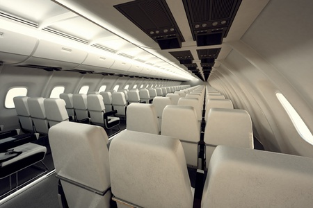 Top shot of two rows of pagganger seats. Aircraft interior in business class. photo