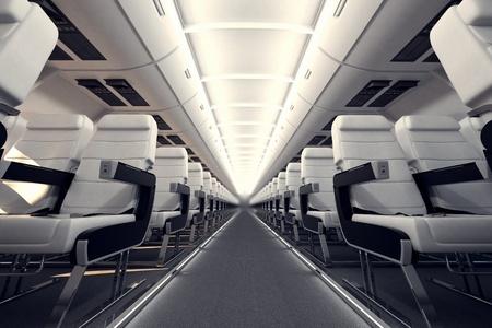 Bekijk op een gangpad tussen de rijen stoelen passagier aan boord van internacional vliegtuig. Stockfoto