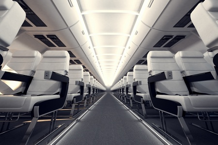 View on an aisle between rows of passanger seats on internacional aircraft's board.
