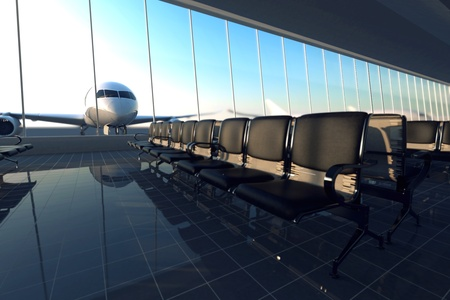 Modern airport terminal with black leather seats on a sunny morning. A huge viewing glass facade with a passenger aircraft behind it.