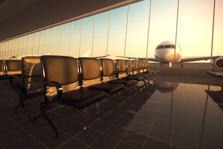 runway: Modern airport terminal with black leather seats at sunset. A huge viewing glass facade with a passenger aircraft behind it.