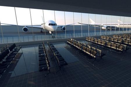 Bovenaanzicht op een moderne luchthaven terminal met zwart lederen stoelen op een zonnige ochtend. Een enorme kijkervaring glazen gevel met een passagiersvliegtuig erachter.