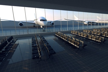 Top view on a modern airport terminal with black leather seats on a sunny morning. A huge viewing glass facade with a passenger aircraft behind it. Stock Photo