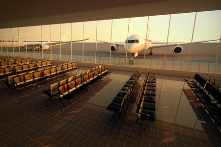 Top view on a modern airport terminal with black leather seats at sunset. A huge viewing glass facade with a passenger aircraft behind it. photo