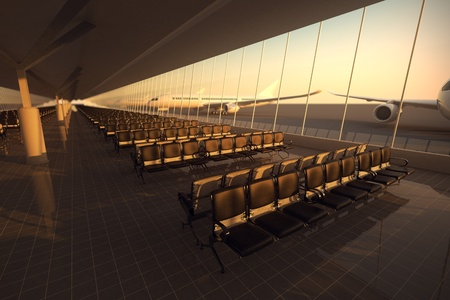 View on an aisle of modern airport terminal with black leather seats at sunset. A huge viewing glass facade with a passenger aircraft behind it.